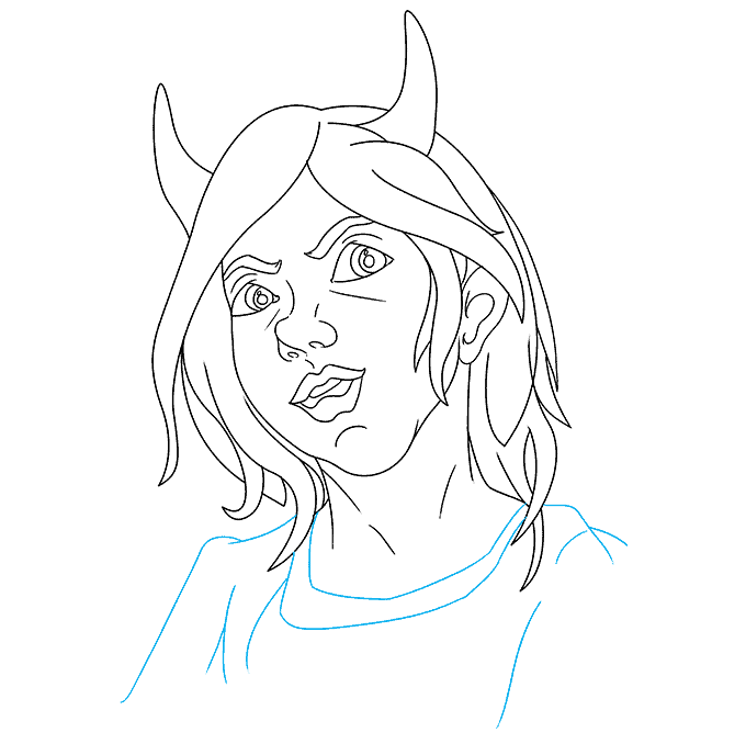How to Draw Demon Girl: Step 8