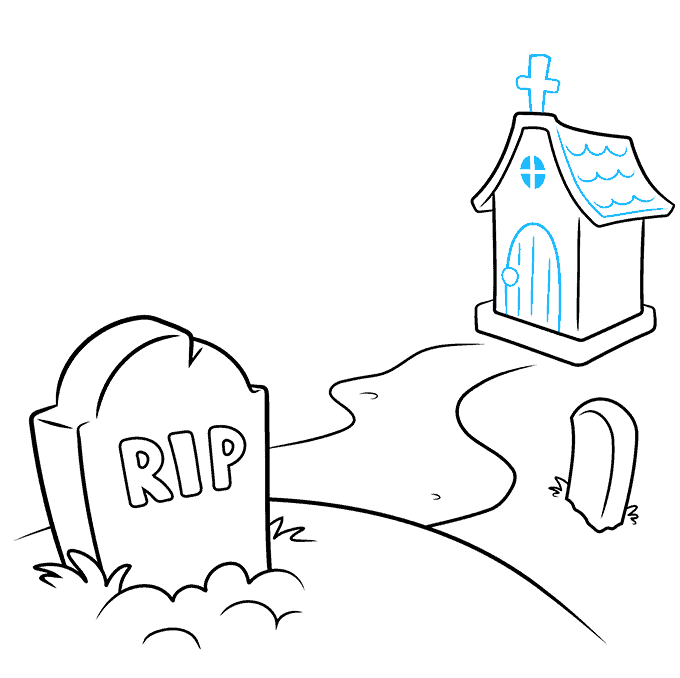 How to Draw Graveyard: Step 5