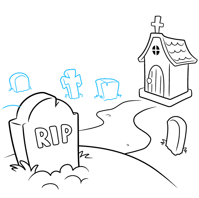 How to Draw Graveyard: Step 6