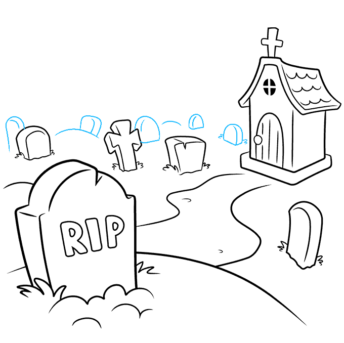 How to Draw Graveyard: Step 7