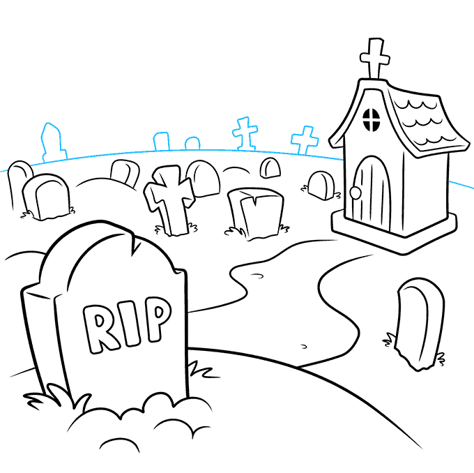 How to Draw Graveyard: Step 8