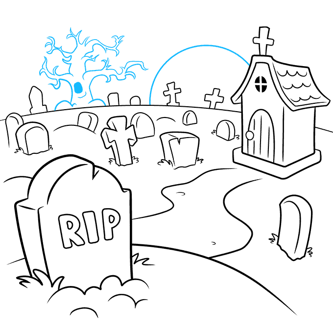How to Draw Graveyard: Step 9