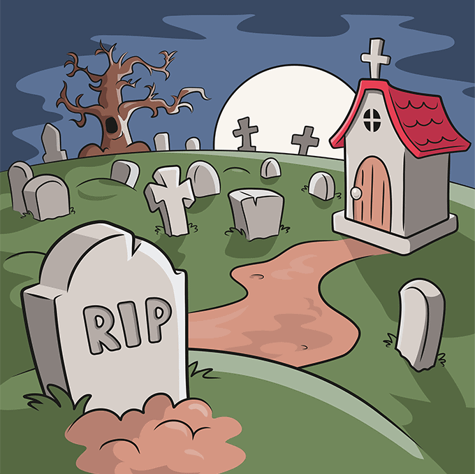 How to Draw Graveyard: Step 10