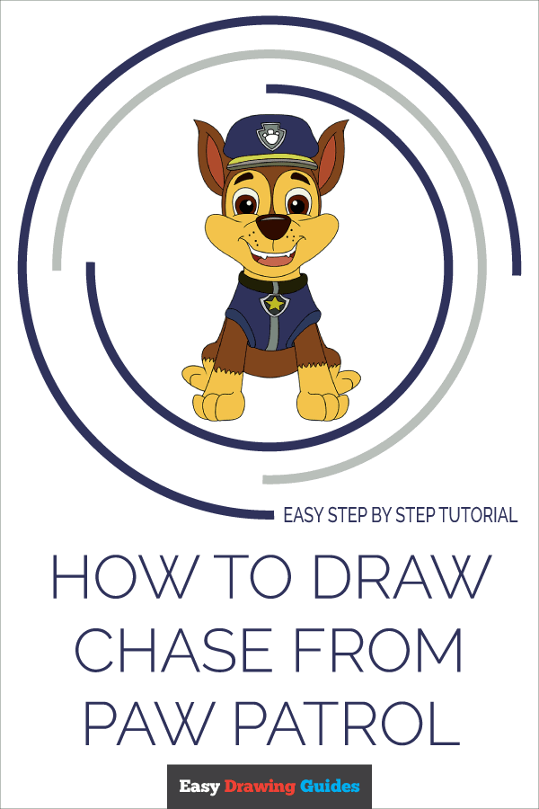 How to Draw Chase from Paw Patrol | Share to Pinterest