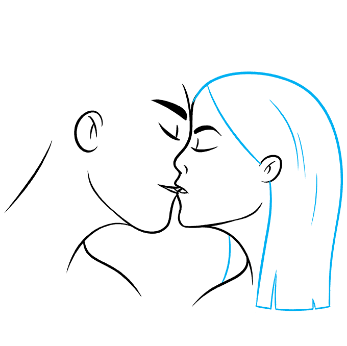 How to Draw Kiss: Step 8