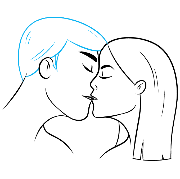How to Draw Kiss: Step 9