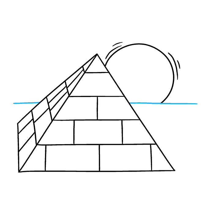 How to Draw Pyramid: Step 8