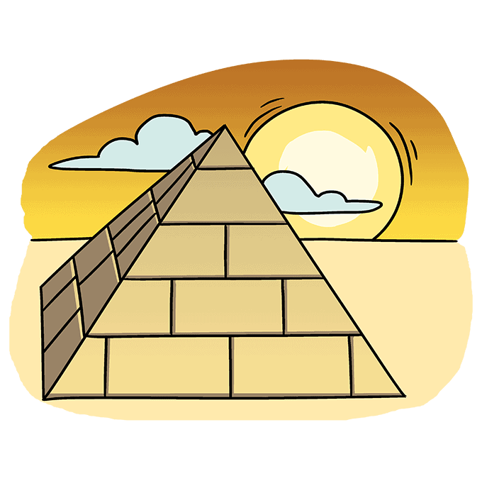 How to Draw Pyramid: Step 10
