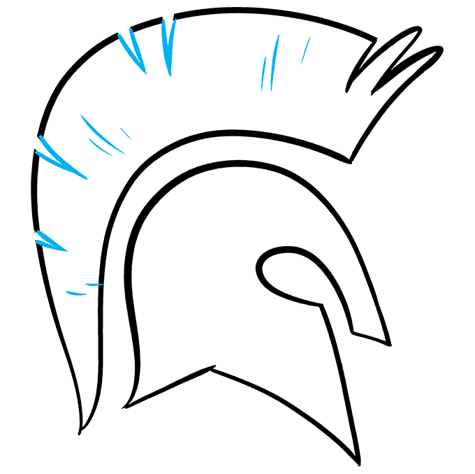 How to Draw Spartan Helmet: Step 7