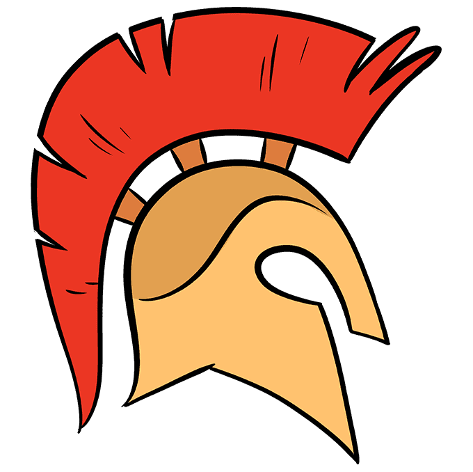 How to Draw Spartan Helmet: Step 10