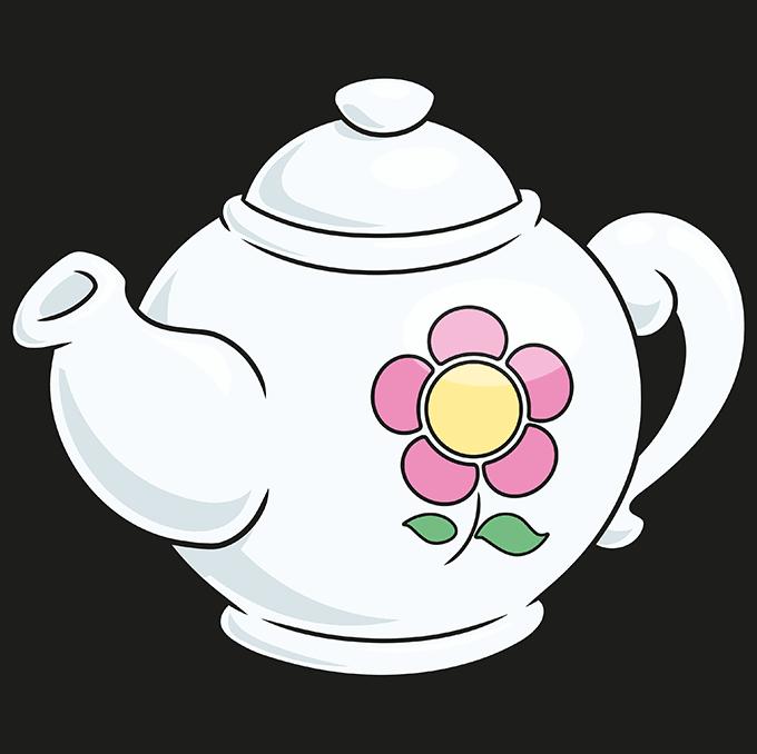 How to Draw Tea Pot: Step 10