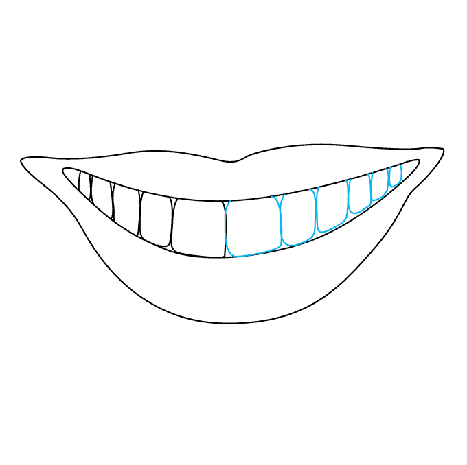 How to Draw Teeth and Lips: Step 6