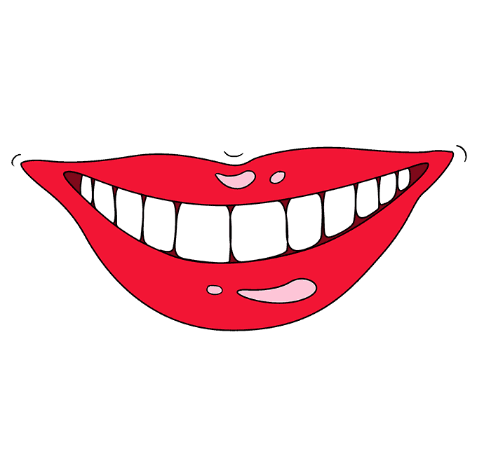 How to Draw Teeth and Lips: Step 10