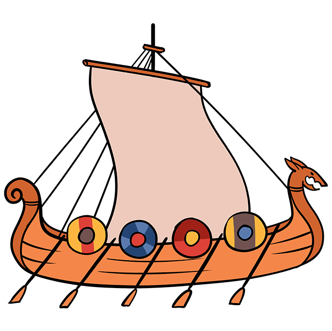 How to Draw Viking Ship: Step 10