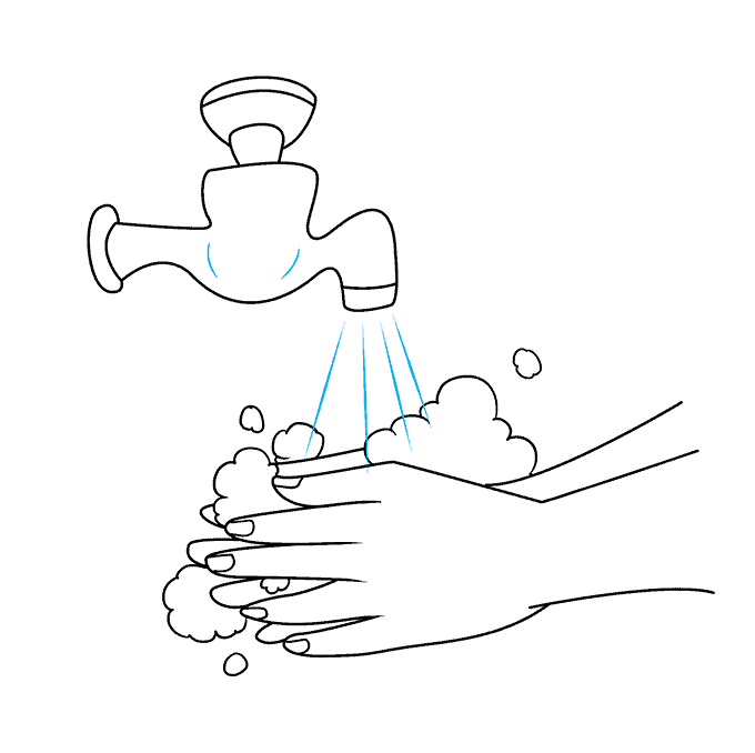 How to Draw Washing Hands: Step 7