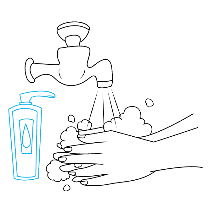 How to Draw Washing Hands: Step 8