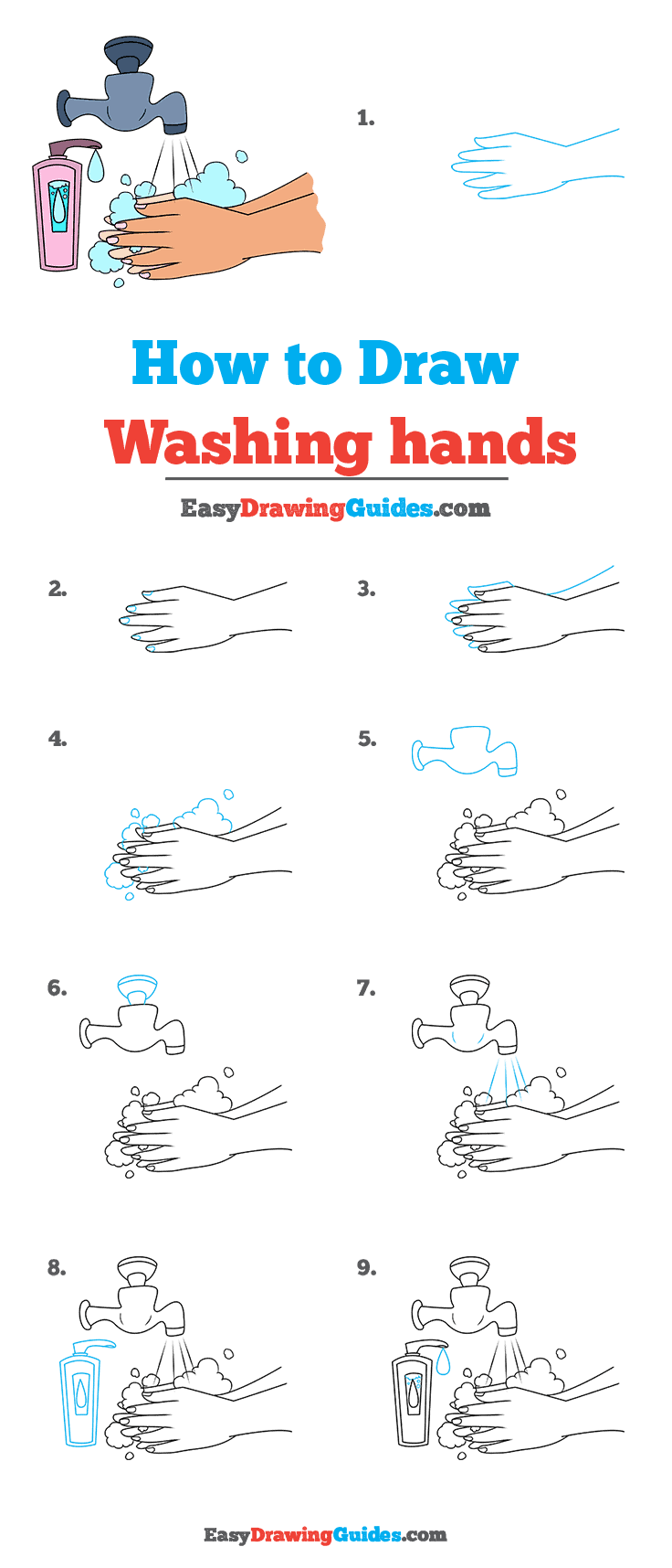 How to Draw Washing Hands