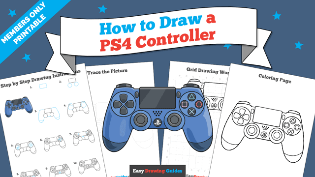 download a printable PDF of PS4 Controller drawing tutorial