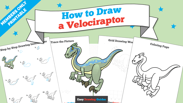 download a printable PDF of Velociraptor drawing tutorial