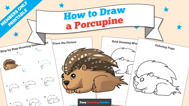 Printables thumbnail: How to draw a Porcupine