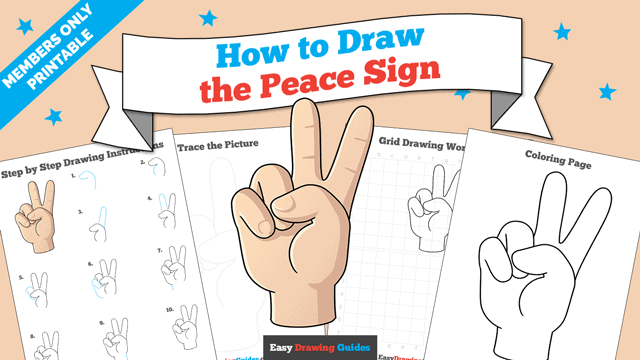 download a printable PDF of Peace Sign drawing tutorial