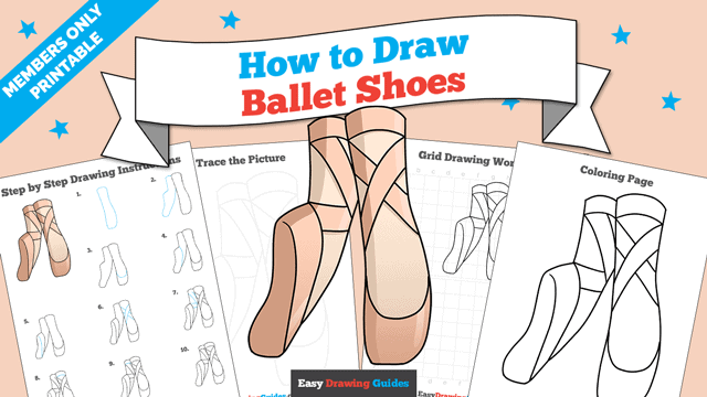 download a printable PDF of Ballet Shoes drawing tutorial