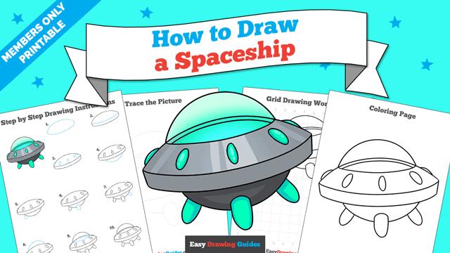 download a printable PDF of Spaceship drawing tutorial