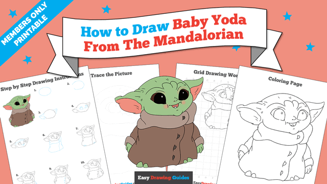 download a printable PDF of Baby Yoda from the Mandalorian drawing tutorial