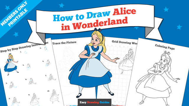 download a printable PDF of Alice in Wonderland drawing tutorial