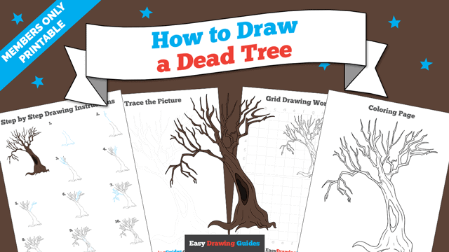 download a printable PDF of Dead Tree drawing tutorial