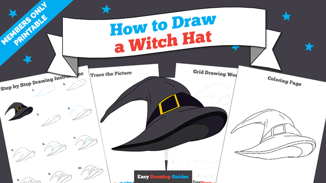 download a printable PDF of Witch Hat drawing tutorial