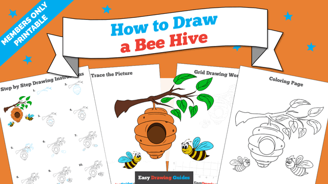 download a printable PDF of Bee Hive drawing tutorial