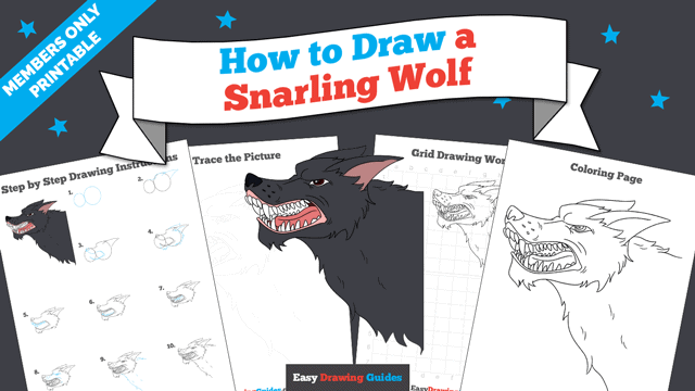 download a printable PDF of Snarling Wolf drawing tutorial