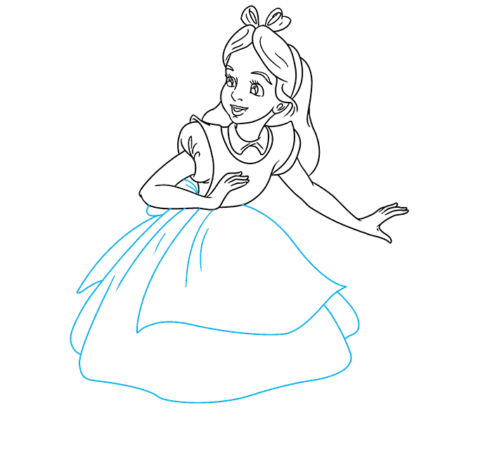 How to Draw Alice in Wonderland: Step 8