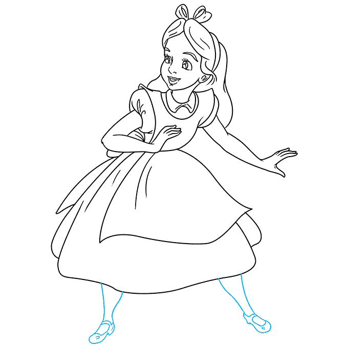 How to Draw Alice in Wonderland: Step 9