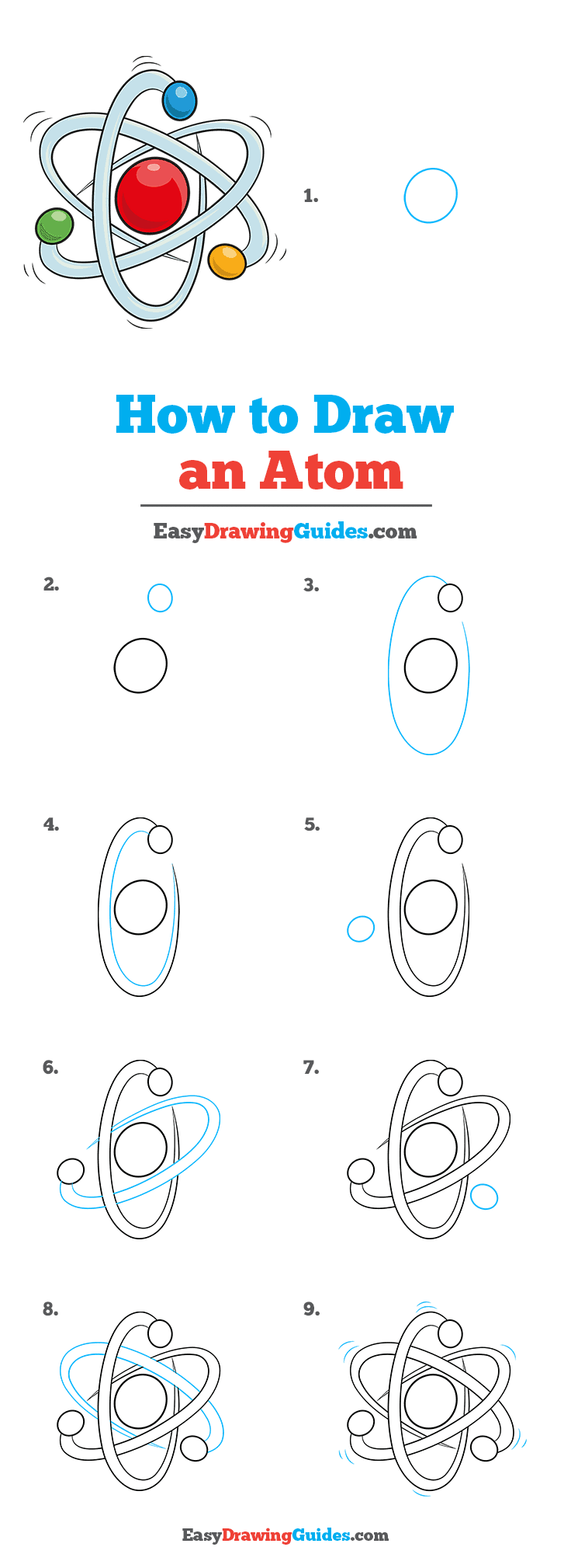 How to Draw an Atom Step by Step Tutorial Image
