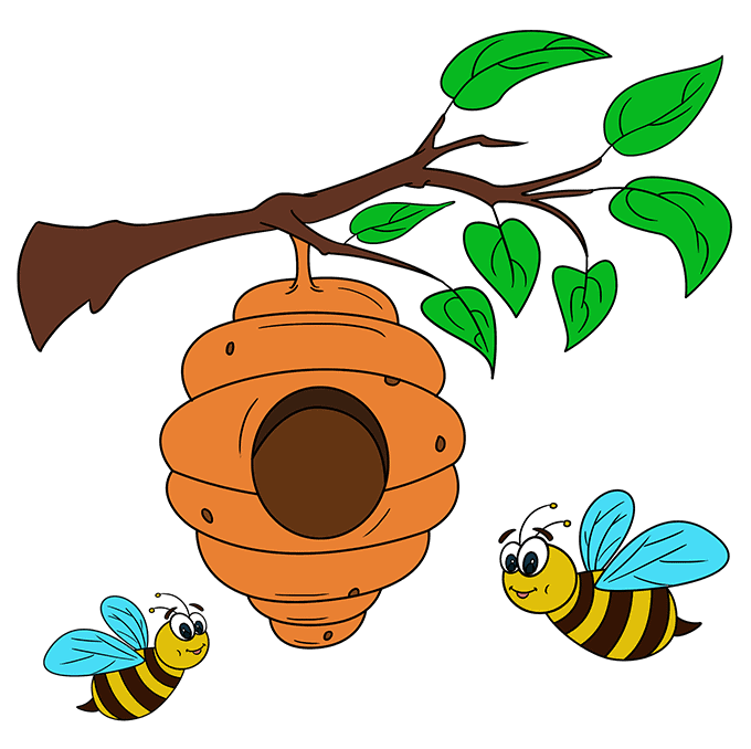 How to Draw a Bee Hive Step 10