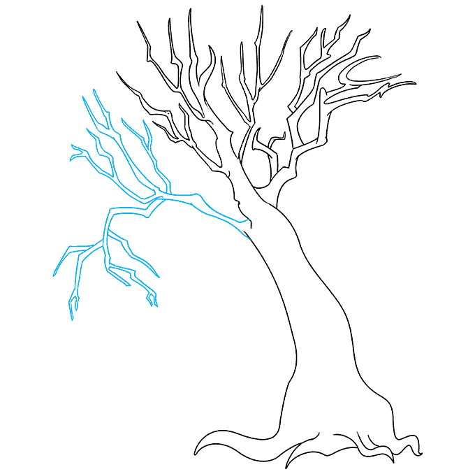 How to Draw a Dead Tree Step 07