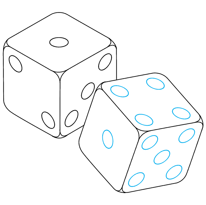 How to Draw Dice: Step 9