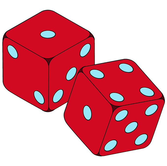 How to Draw Dice: Step 10