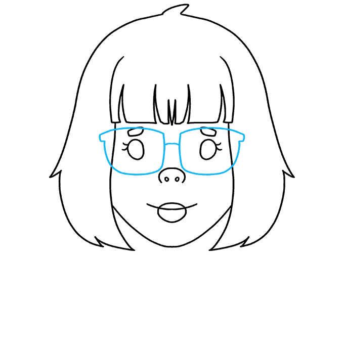 How to Draw Girl with Glasses: Step 7