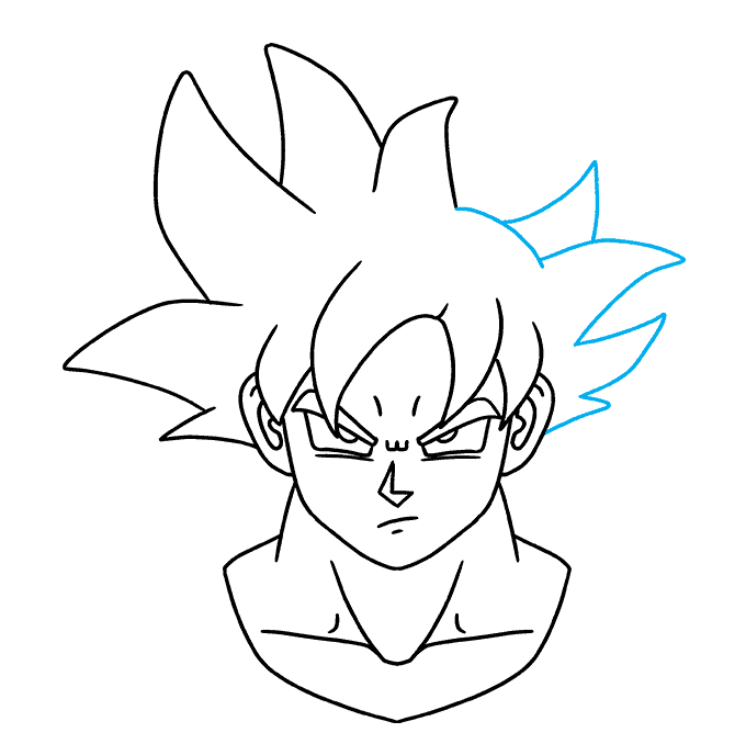 How to Draw Goku Ultra Instinct: Step 9