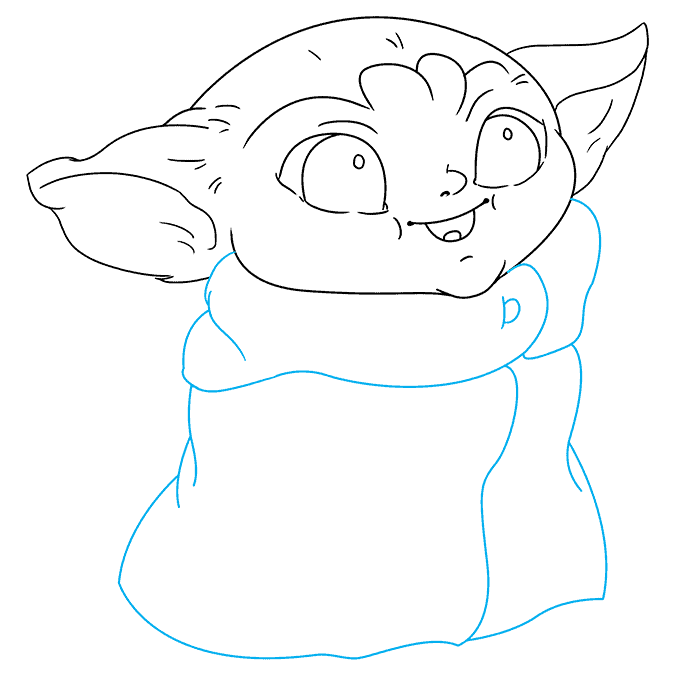 How to Draw Baby Yoda from the Mandalorian: Step 6