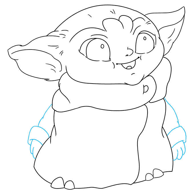 How to Draw Baby Yoda from the Mandalorian: Step 8