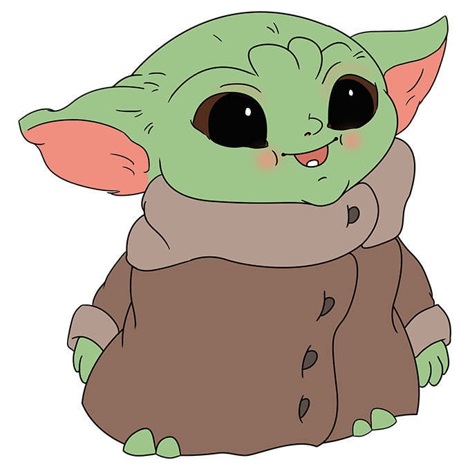 How to Draw Baby Yoda from the Mandalorian: Step 10