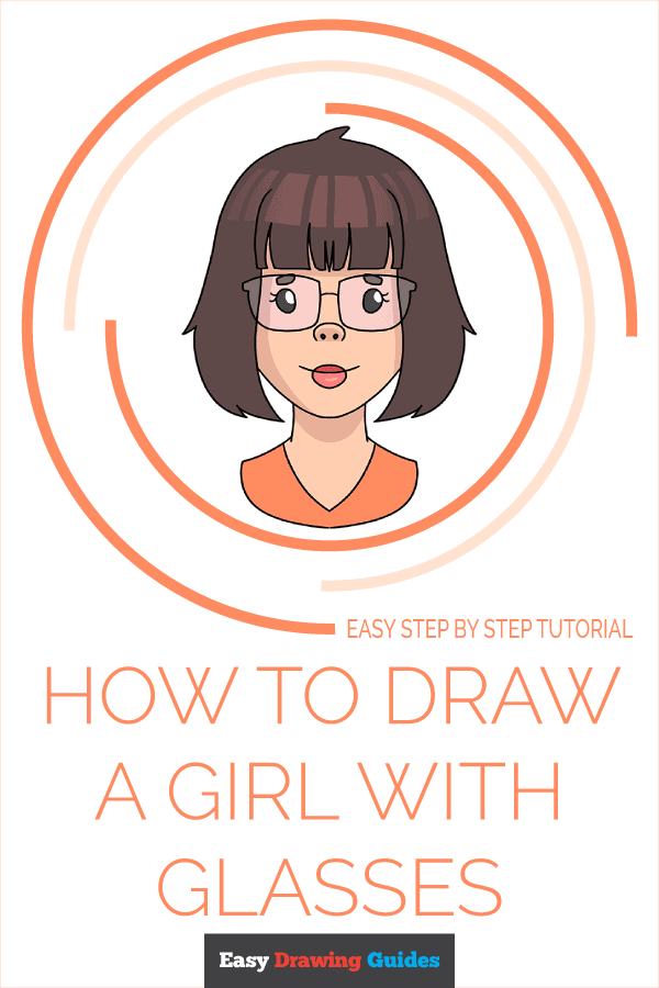 How to Draw Girl with Glasses | Share to Pinterest