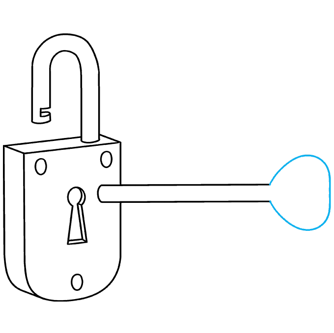 How to Draw Key and Lock: Step 7
