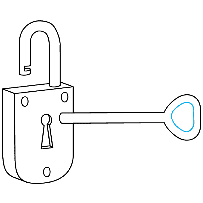 How to Draw Key and Lock: Step 8