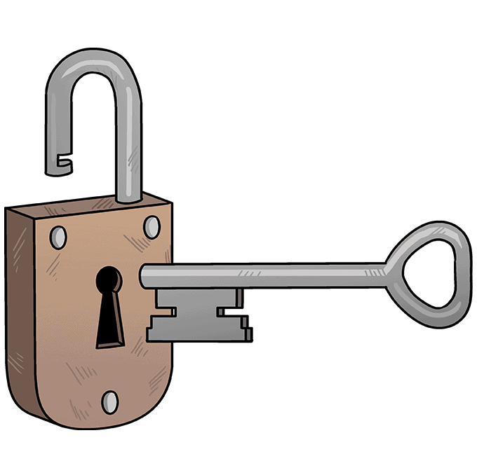 How to Draw Key and Lock: Step 10