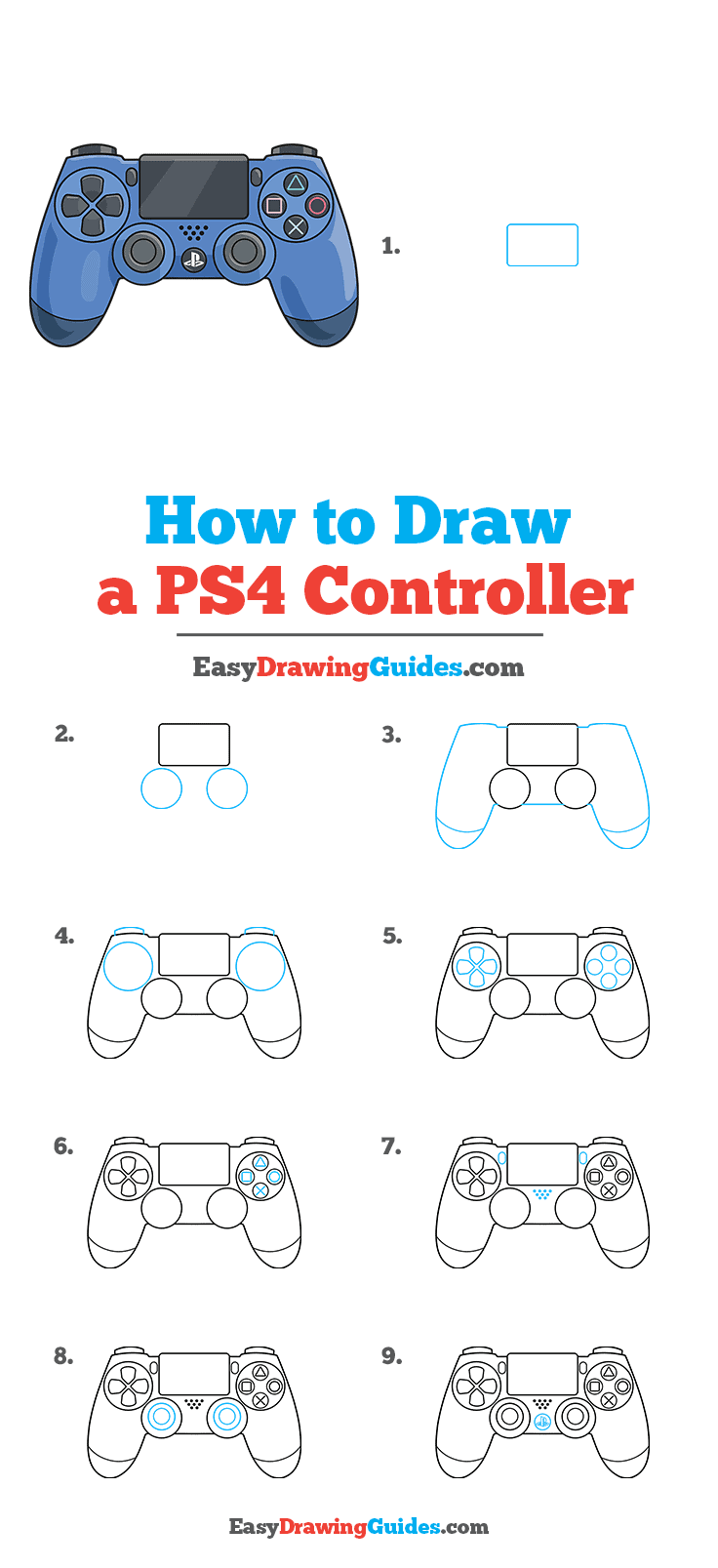 How to Draw PS4 Controller